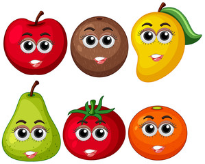 Fresh fruits with happy face