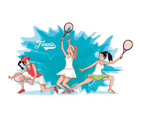 group of women players tennis vector illustration design