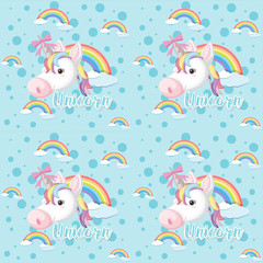 Seamless background with unicorn in sky