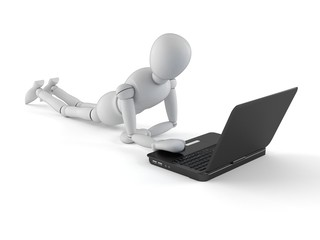 White dummy with laptop