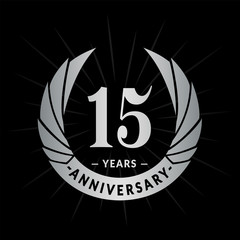 15 years anniversary. Elegant anniversary design. 15 years logo.