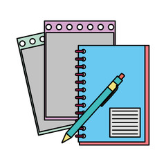 color notebook and note paper with pen tools