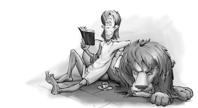 Calm Man and the Lion