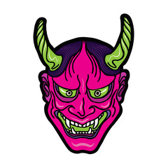 Hand drawn Japanese hannya demon neon pink and green theatre betrayed woman mask with eyes and mouth wide open, sharp teeth and dark hair. Vector isolated illustration on a light background.