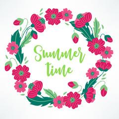 Summer wreath with poppy on white background