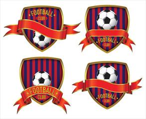 Black Stripe Red Football Club Logo design in 4 alternative layout & Ribbon