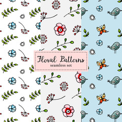 Set of 3 cute seamless floral patterns