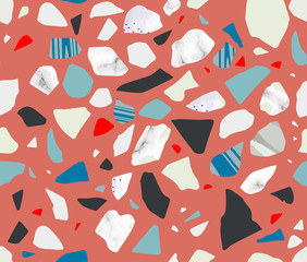 Terrazzo seamless pattern. Vibrant colors. Marble. Textured shapes