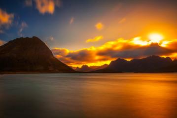 Wall Mural - Sunset over the mountains of Lofoten islands