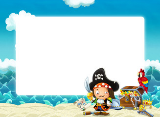 Water / wave frame with pirate - illustration for children