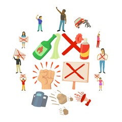 Protest items icons set, cartoon style
