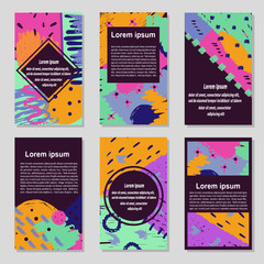 Set of colorful trendy cards. Hand drawn vector creative abstract flayers, posters design.