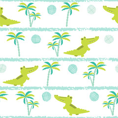 Seamless cartoon crocodiles pattern. Vector childish background with alligators and palms.