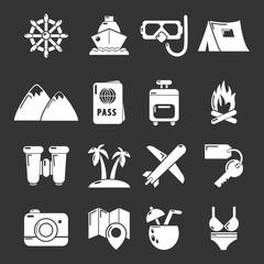 Travel summer icons set grey vector