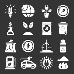 Ecology icons set grey vector
