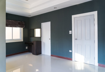 empty room with white door and furniture