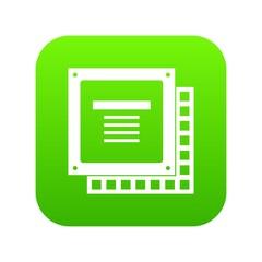 Computer CPU processor chip icon digital green