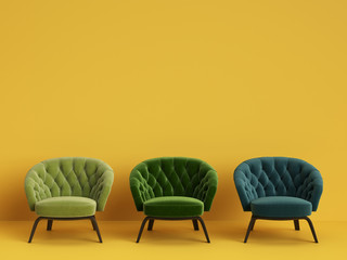 3 Classic tufted chairs in different green colors on yellow background with copy space