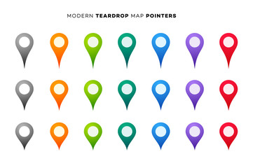 Set of Colorful Map Markers. Collection of Modern Pointers. Vector Design Elements
