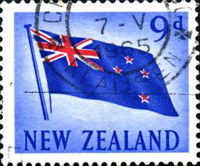 drapeau de la Nouvelle Zélande. Timbre oblitéré