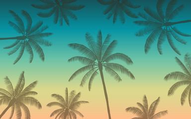 Silhouette palm tree in flat icon design with vintage color background