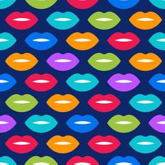 Colorful woman lips seamless pattern.