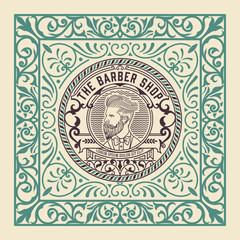 Vintage label. Barbershop theme