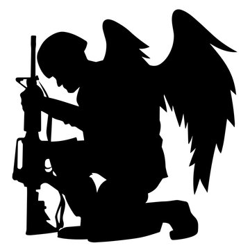 Military Angel Soldier With Wings Kneeling Silhouette Isolated Vector Illustration