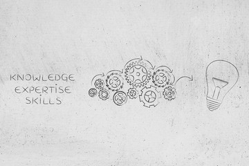 knowledge expertise and skills caption next to gearwheel mechanism processing them into idea (light bulb icon)