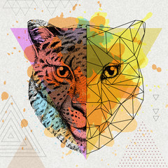 Hipster animal realistic and polygonal cheetah on artistic watercolor background