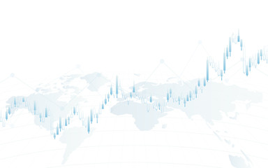 Abstract financial background with world map and chart on white color