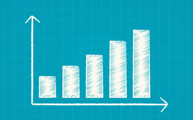 Abstract financial uptrend bar chart in chalk Scribble design on blue color background