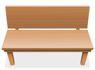 Wooden bench with free seat - empty furniture item - isolated vector illustration on white background.