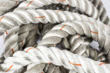 Heavy used anchor rope, ideal for fitness training or crossfit workout isolated on white background