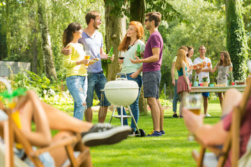 Summer barbecue party in nature