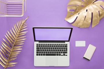 Gold leaves on violet background