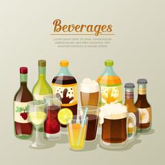 Still life with differents beverages on light brown background. Wine, beer, cola, orange juice. Set of bottles and glasses with drinks. Vector illustration.