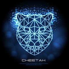 Abstract polygonal tirangle animal cheetah neon sign. Hipster animal illustration.