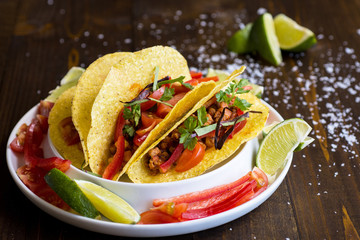 Colorful Mexican Tacos with Ground Beef and Vegetables