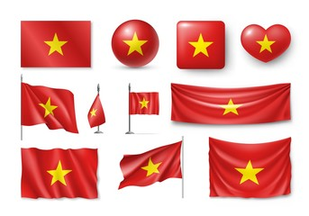 Set Vietnam flags, banners, banners, symbols, flat icon. Vector illustration of collection of national symbols on various objects and state signs