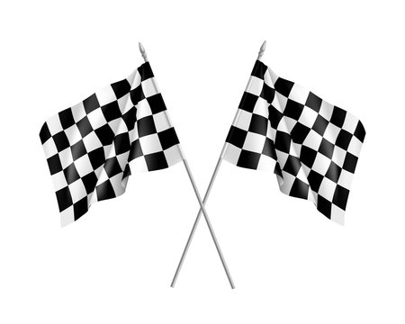 Two racing flags crossed realistic. Pair of standards for marking start and finish. Vector illustration