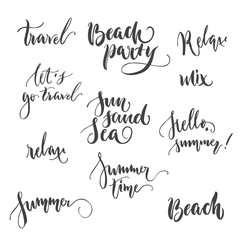 Set lettering relax party summer isolated. Selection of wishes for summer vacation on beach and sea. Vector illustration