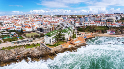 Aerial. Aerial view of the town of Ericeira coasts and streets.