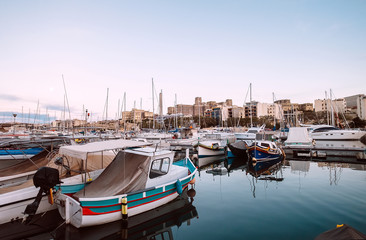 Msida yacht Marina docks near the Valetta Malta's capital, Malta