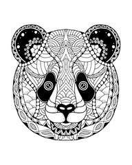 Panda bear zentangle stylized. Freehand vector illustration