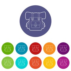 Backpack icons set vector color
