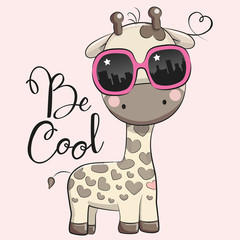 Cute Giraffe with sun glasses
