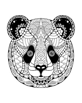 Panda bear zentangle stylized. Freehand vector illustration