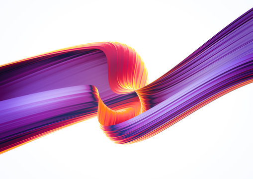 3D render abstract background. Colorful 90s style twisted shapes in motion. Iridescent digital art for poster, banner background, design element. Holographic isolated foil ribbon on white background.