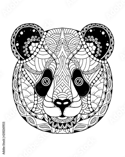 Panda bear zentangle stylized freehand vector illustration stock image and royalty free - Coloriage panda roux mandala ...